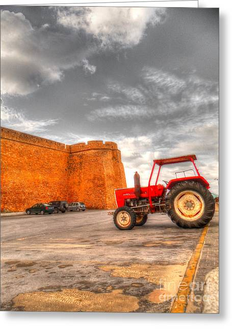 Le Tracteur Rouge Greeting Card by Dhouib Skander