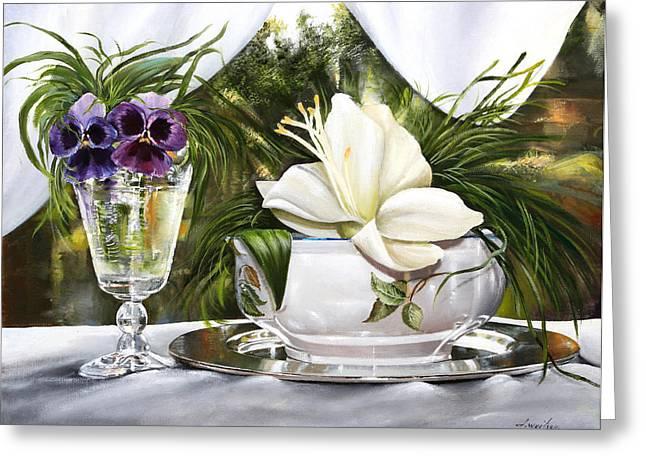 Le Viole Nel Bicchiere Greeting Card by Danka Weitzen