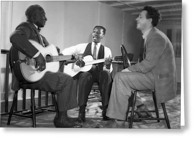 Leadbelly, Josh White, Nicholas Ray Greeting Card by Underwood Archives
