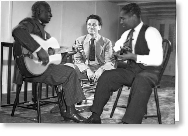 Leadbelly, Nicholas Ray, Josh White Greeting Card by Underwood Archives