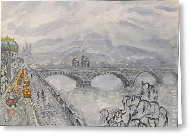 Leaden Winter In Golden Prague  Greeting Card