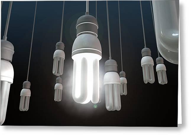 Leadership Hanging Lightbulb Greeting Card by Allan Swart