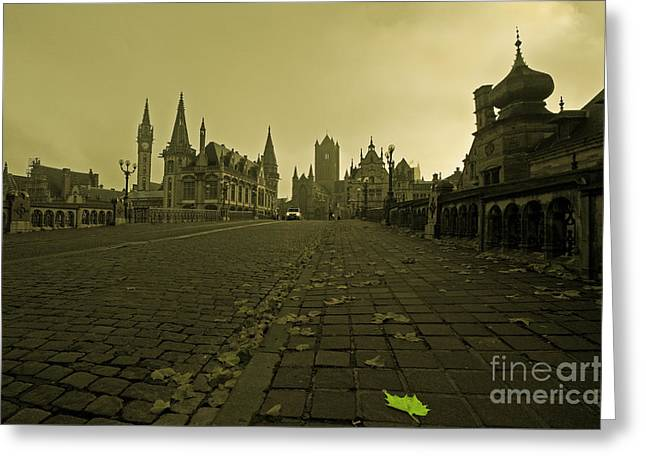 Leaf Amongst The Towers Of Ghent  Greeting Card