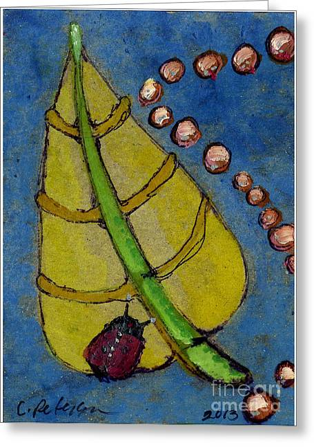 Leaf And Ladybug Series No. 2 Greeting Card by Cathy Peterson