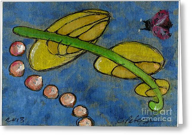 Leaf And Ladybug Series No. 5 Greeting Card by Cathy Peterson