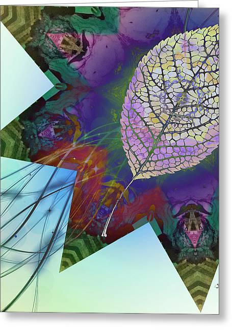 Leafy Star Greeting Card by Jan Steadman-Jackson