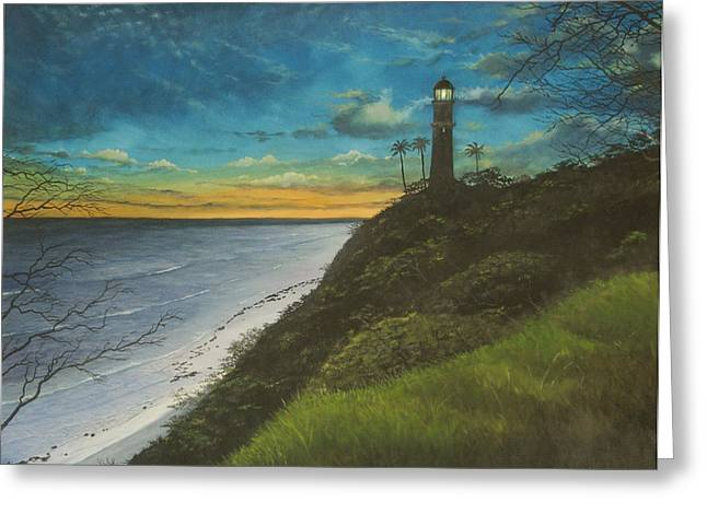 Leahi Lighthouse Greeting Card by Wallace Kong
