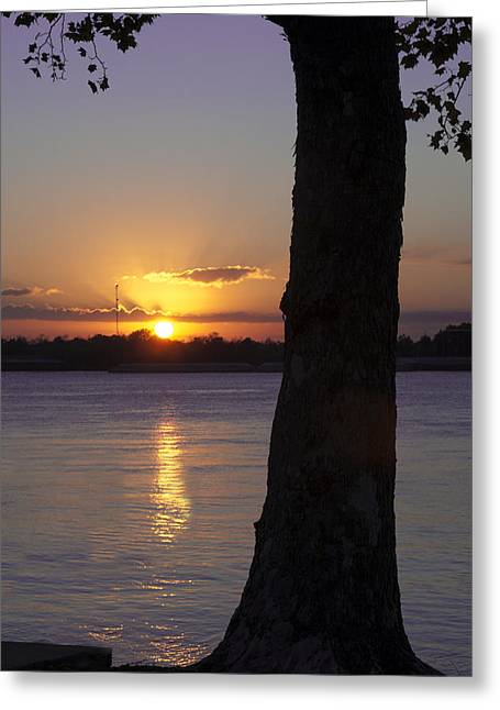 Greeting Card featuring the photograph Leake Avenue Mississippi River Sunset by Ray Devlin