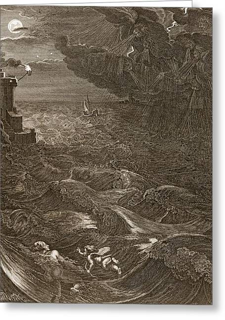 Leander Swims Over The Hellespont Greeting Card