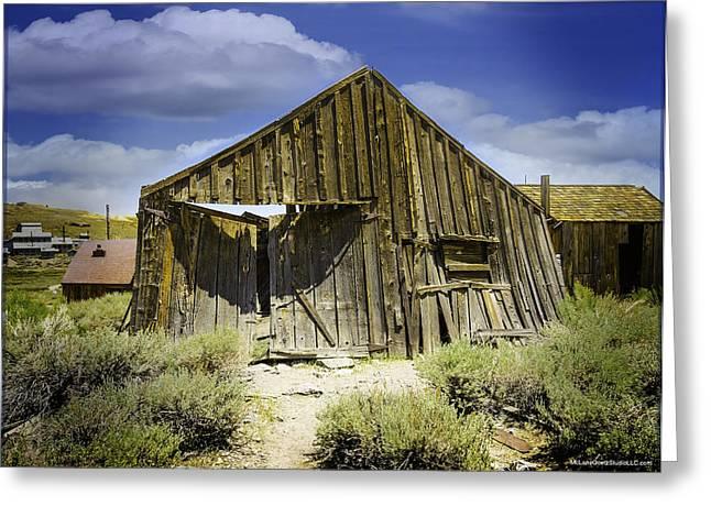 Leaning Barn Of Bodie California Greeting Card by LeeAnn McLaneGoetz McLaneGoetzStudioLLCcom