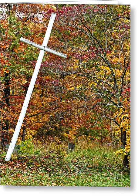 Leaning Cross And Gravestone Greeting Card by Thomas R Fletcher