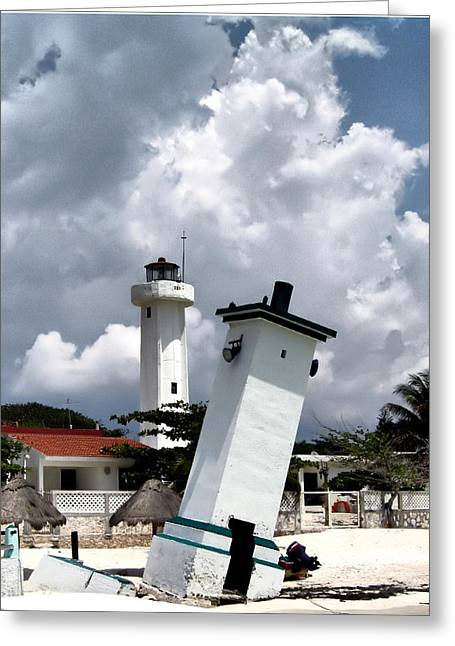 Greeting Card featuring the photograph Leaning Lighthouse Of Mexico by Farol Tomson