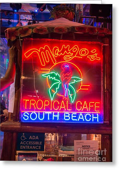 Leaning On Mango's South Beach Miami Greeting Card by Ian Monk