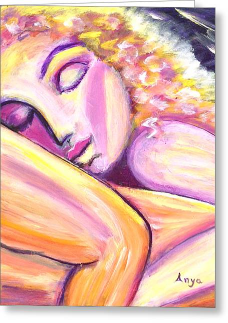 Greeting Card featuring the painting Leaning On You by Anya Heller
