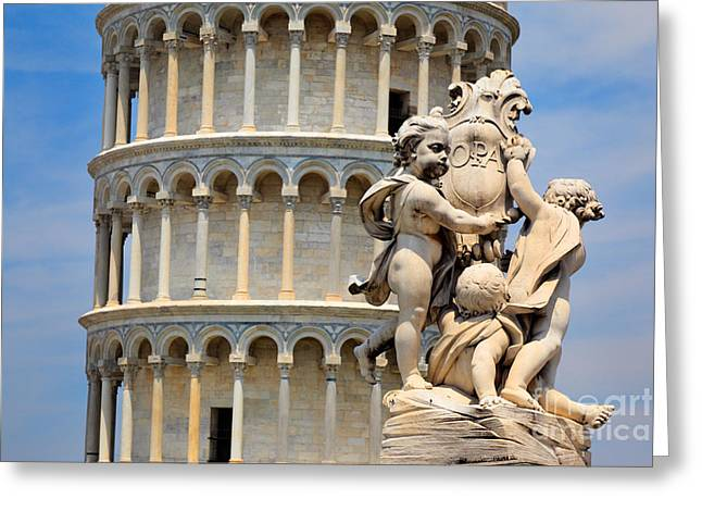 Leaning Tower And Sculpture Greeting Card by Inge Johnsson