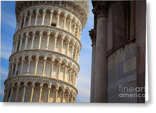 Leaning Tower Greeting Card by Inge Johnsson