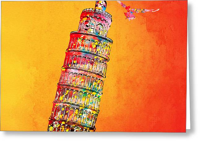 Leaning Tower Greeting Card by Mark Ashkenazi
