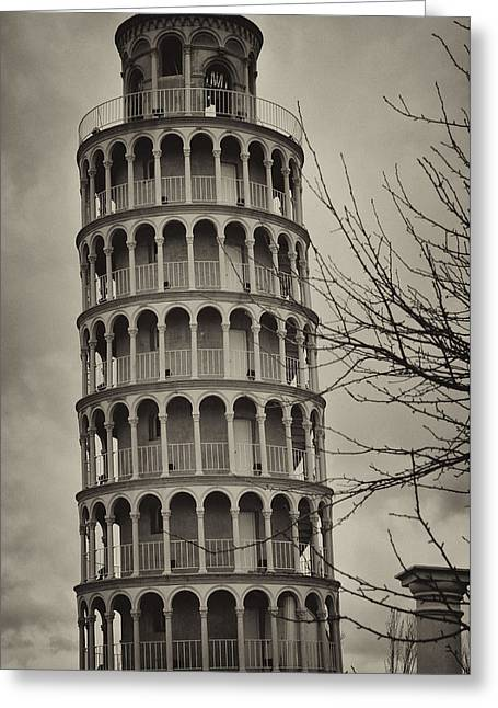 Leaning Tower Greeting Card by Miguel Winterpacht