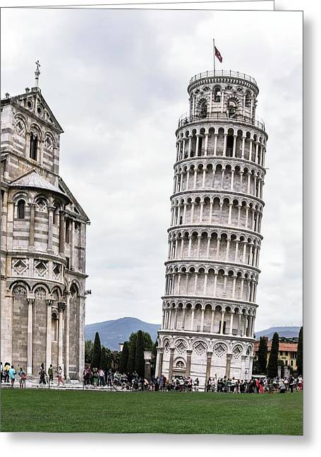Leaning Tower Of Pisa And Cathedral Greeting Card by Brian Gadsby