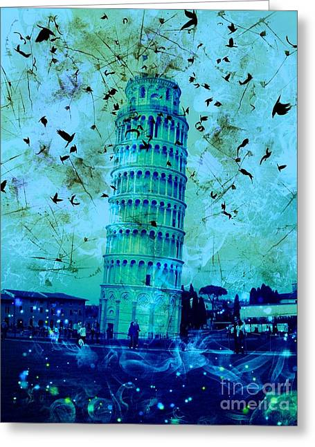 Leaning Tower Of Pisa 3 Blue Greeting Card