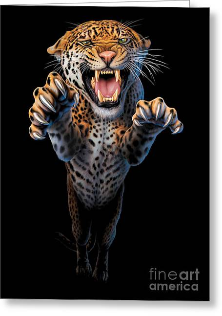 Leaping Leopard Greeting Card by Andrew Farley