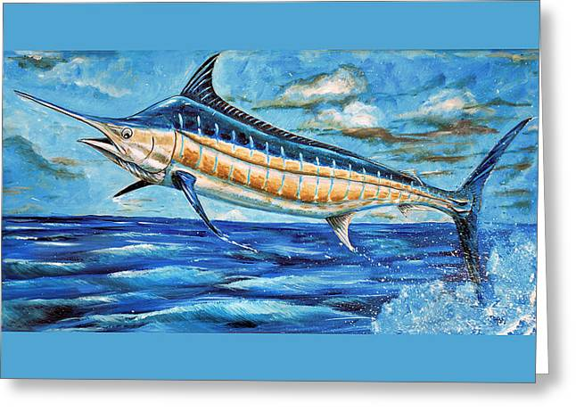 Leaping Marlin Greeting Card by Steve Ozment