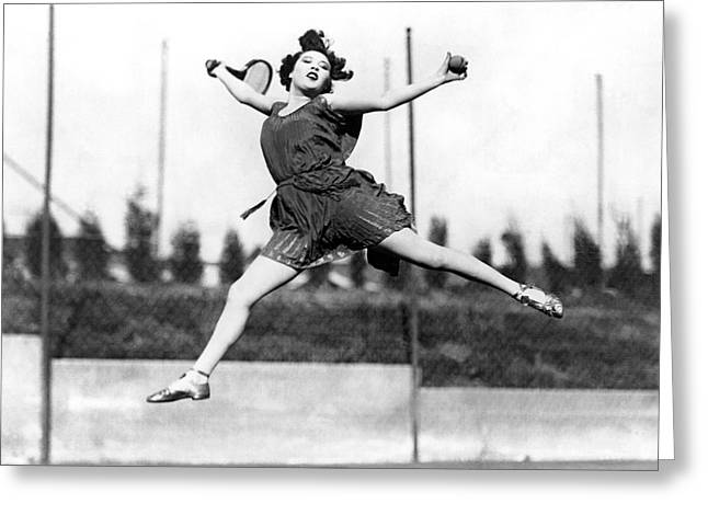Leaping Tennis Woman Greeting Card