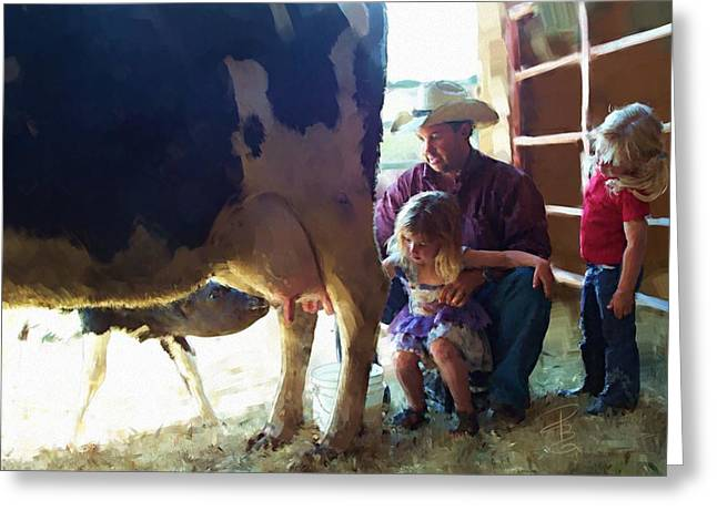 Learning How To Get Milk Greeting Card by Debra Baldwin