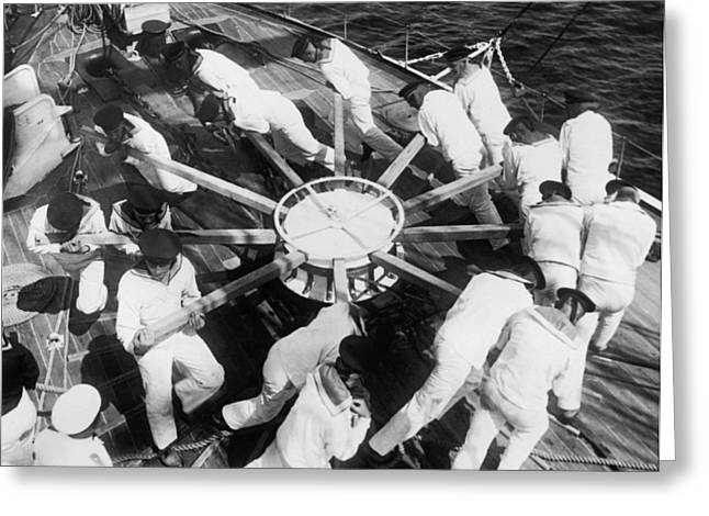 Learning Naval Teamwork Greeting Card by Underwood Archives