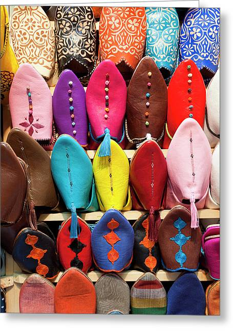 Leather Slippers For Sale In The Souk Greeting Card by Peter Adams