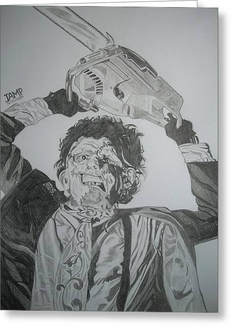 Leatherface Greeting Card by Jose Mendez