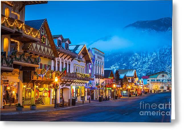 Leavenworth Skyline Greeting Card by Inge Johnsson