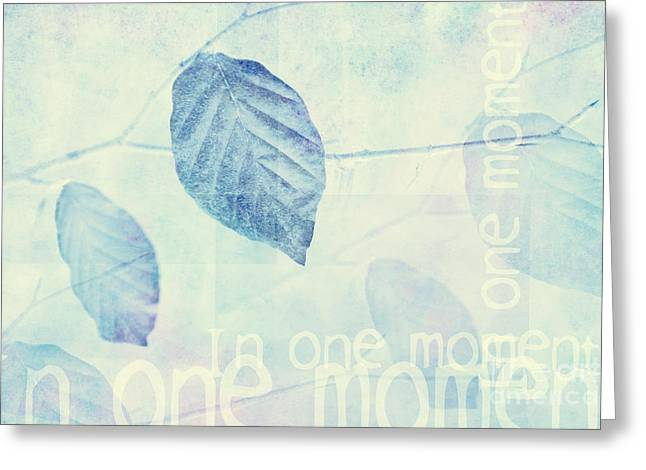 Leaves In Blue Ginger Contemporary Art Print Greeting Card by Natalie Kinnear