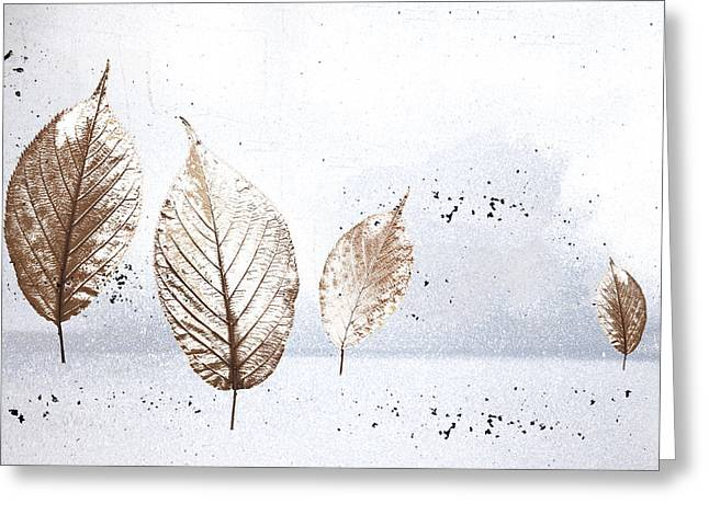 Leaves In Snow Greeting Card by Carol Leigh