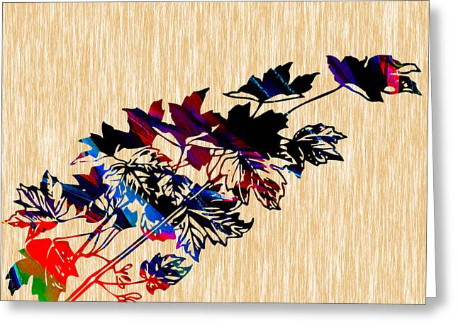 Leaves Painting Greeting Card by Marvin Blaine