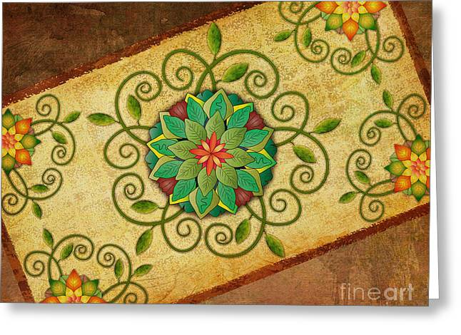 Leaves Rosette 1 Greeting Card by Bedros Awak