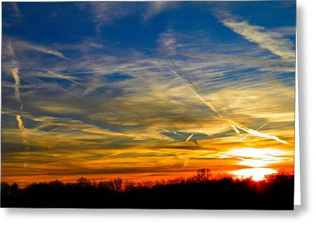 Leavin On A Jetplane Sunset Greeting Card