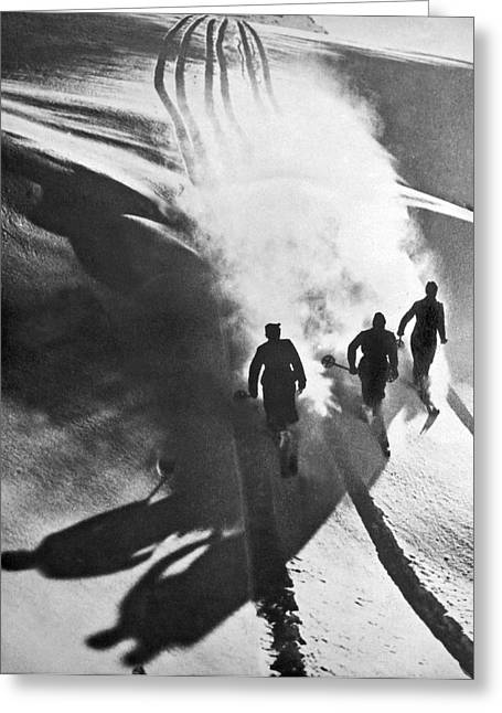 Leaving A Powder Trail Greeting Card by Underwood Archives