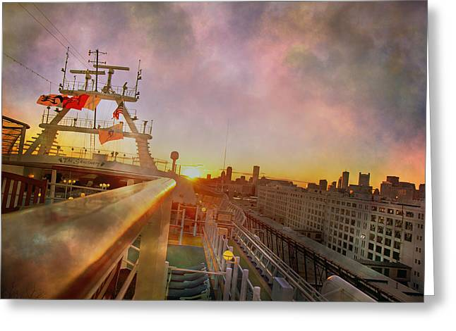 Leaving Boston On The Princess Caribbean Greeting Card by Betsy Knapp