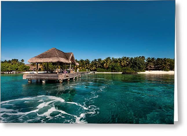 Leaving Kuramathi Resort. Maldives Greeting Card by Jenny Rainbow