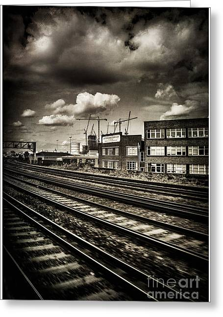 Leaving London Town By Train Greeting Card