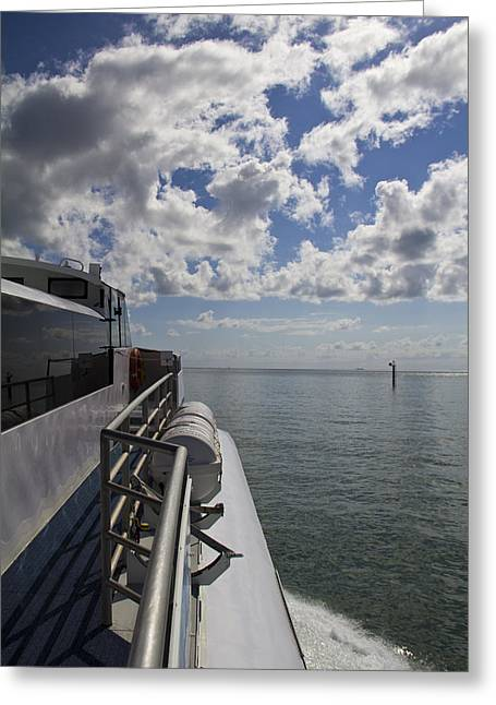 Greeting Card featuring the photograph Leaving The Channel by Debbie Cundy