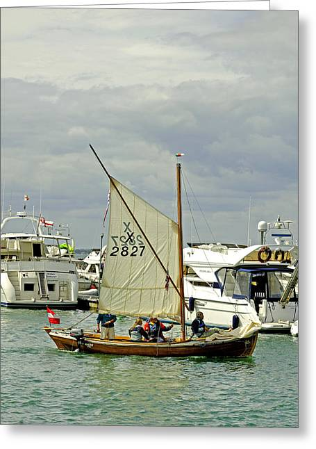 Leaving Yarmouth Harbour Under Sail Greeting Card