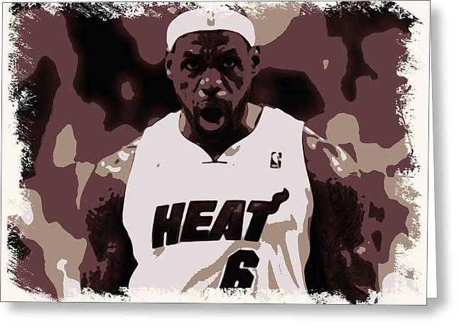 Lebron James Victory Celebration Greeting Card by Florian Rodarte