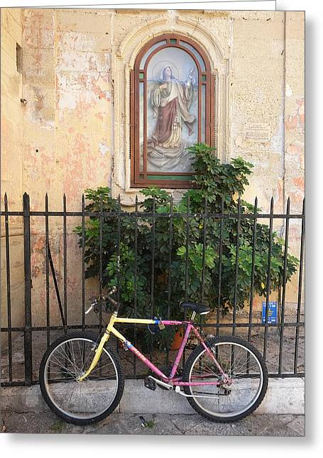 Lecce Italy Bicycle Greeting Card by John Jacquemain
