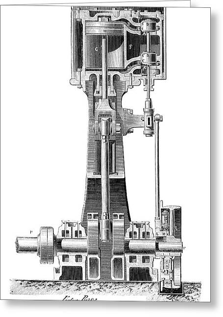 Lecouteux-garnier Engine Greeting Card by Science Photo Library