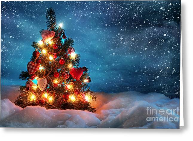 Led Christmas Lights Greeting Card by Boon Mee
