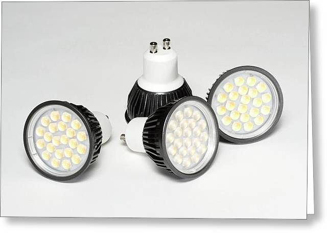 Led Light Bulbs Greeting Card by Science Photo Library
