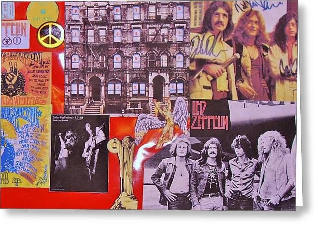 Led Zeppelin  Collage Number Two Greeting Card by Donna Wilson