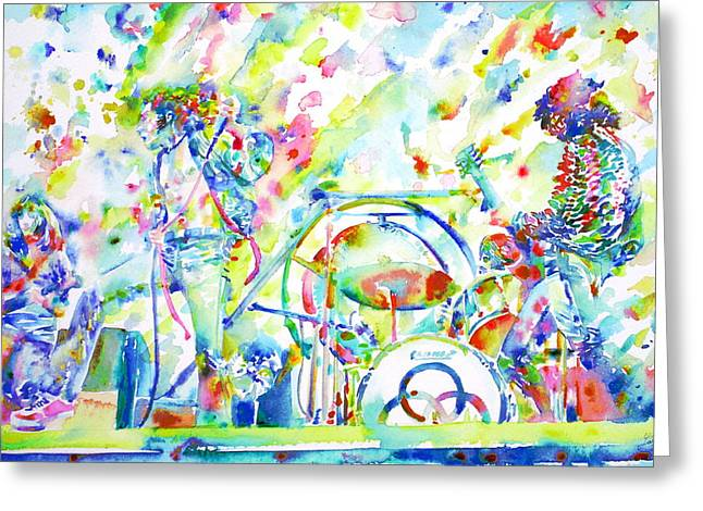 Led Zeppelin Live Concert - Watercolor Painting Greeting Card